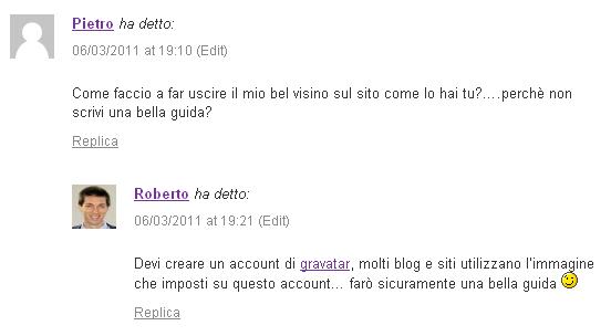 cambiare immagine del profilo nei commenti dei blog
