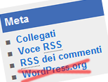 modificare il menù widget meta, eliminare wordpress.org