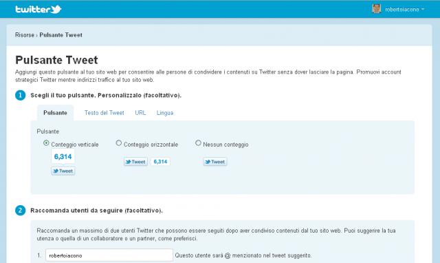 Come inserire pulsante Tweet di Twitter