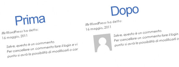 Inserire il box avatar nei commenti in blog wordpress