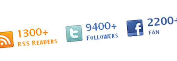 Numero testuale di fan pagina facebook, follower twitter e lettori feed