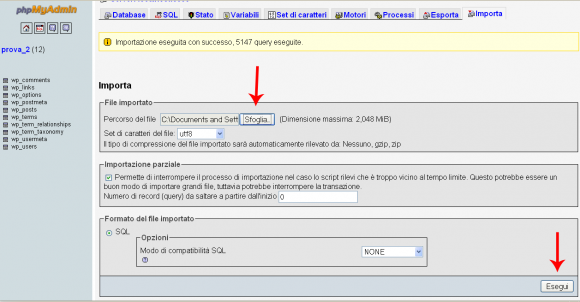 importazione del backup in wordpress