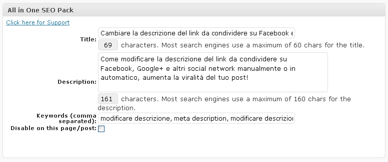 All one seo pack plugin - modificare la descrizione