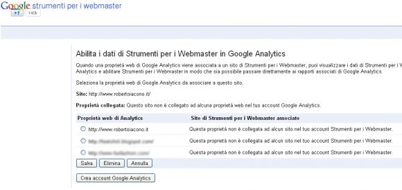 collegare google webmaster tools analytics 2