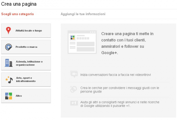 creare una pagina in google plus