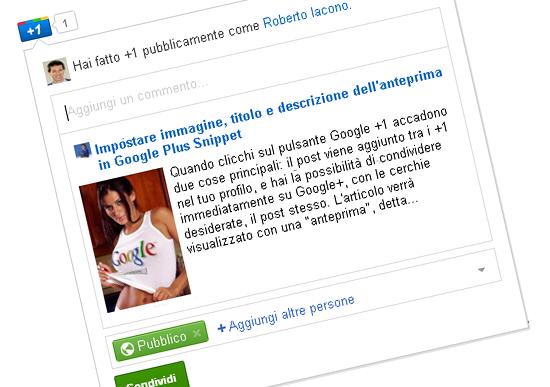 Impostare immagine, titolo e descrizione dell'anteprima in Google Plus Snippet