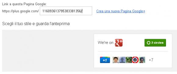 collega pagina google plus dopo l'inserimento ID