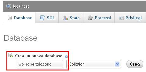 creare database offline