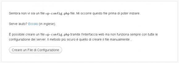 creare file configurazione wordpress installazione