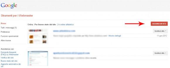 Aggiungere un sito a Google Webamster Tools