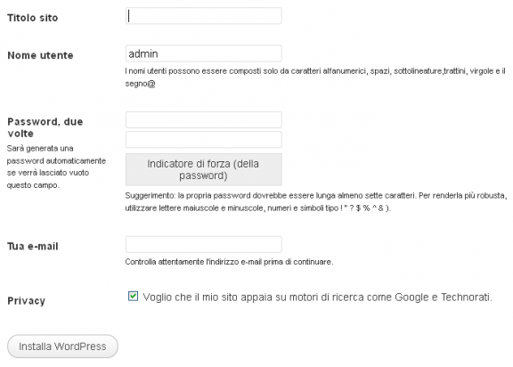 inserire dati installazione wordpress
