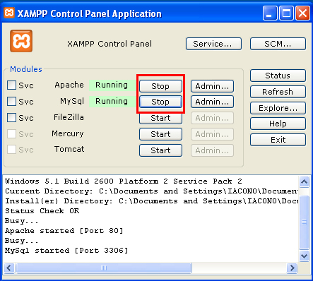 avviare il server in XAMPP