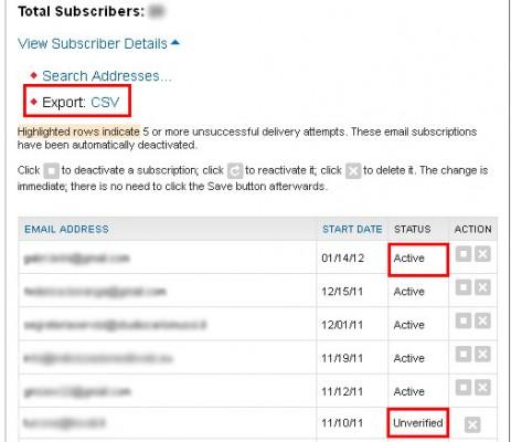 gestione newsletter feedburner