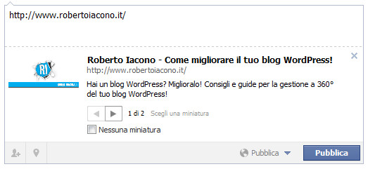 Anteprima della mia homepage su facebook