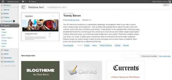 nnello di amministrazione WordPress