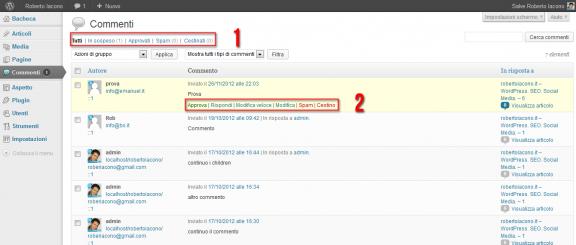 Commenti - Pannello di amministrazione WordPress