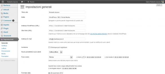Impostazioni - Pannello di amministrazione WordPress