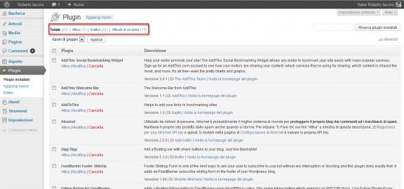 Plugin - Pannello di amministrazione WordPress