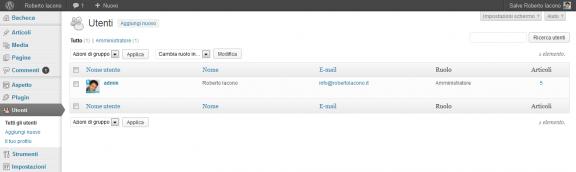 Utenti - Pannello di amministrazione WordPress