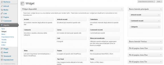 Schermata Widget per WordPress
