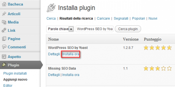 Installare plugin - wordpress seo by yoast
