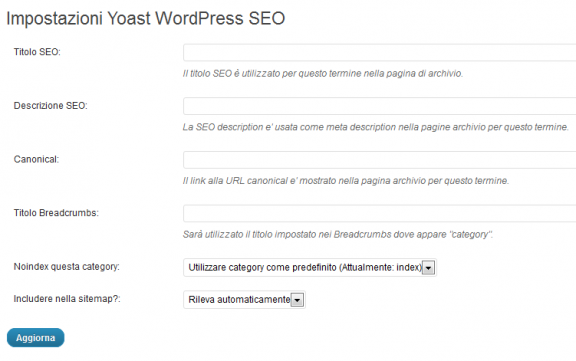 Opzioni Categorie/tag - WordPress SEO by yoast