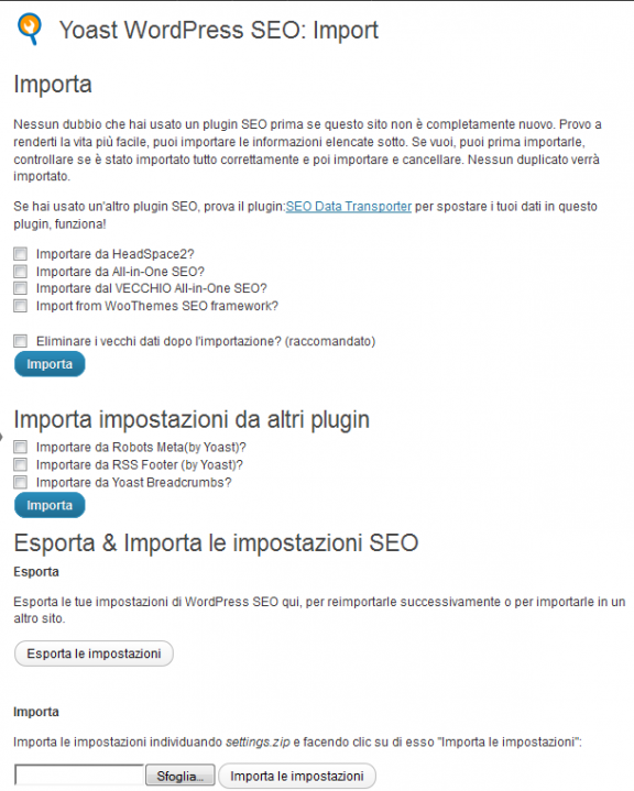 Importazione - WordPress SEO by yoast