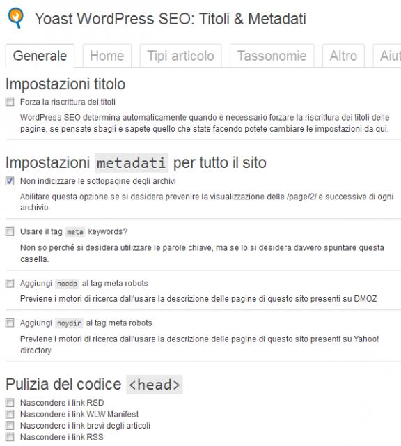 Impostazioni Titolo - Generale - WordPress SEO by yoast