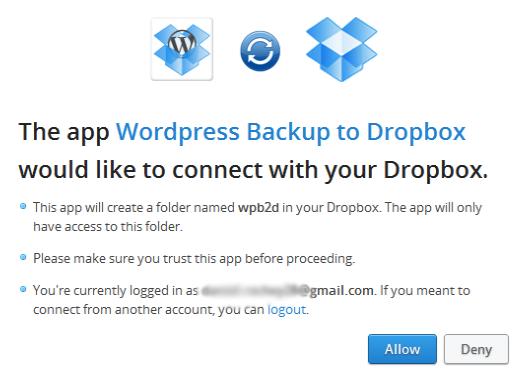 creazione app dropbox