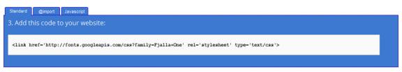 Codice google-web-fonts
