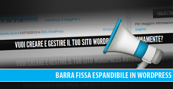 Barra fissa espandibile in WordPress: jQuery Expandable Sticky Bar