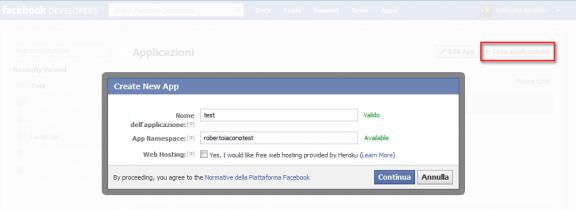 Crea un'app Facebook