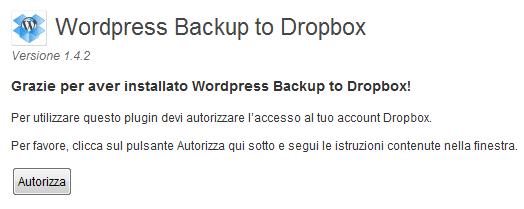 Autorizza Dropbox