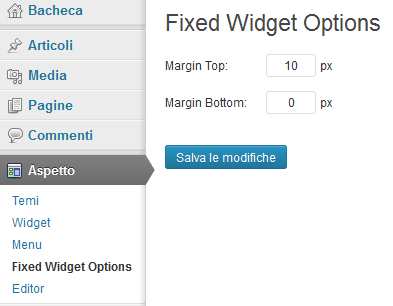 Opzioni del plugin fixed widget