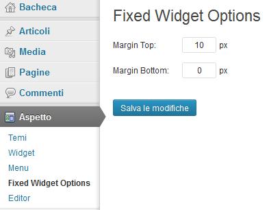 Opzioni del plugin fixed widget