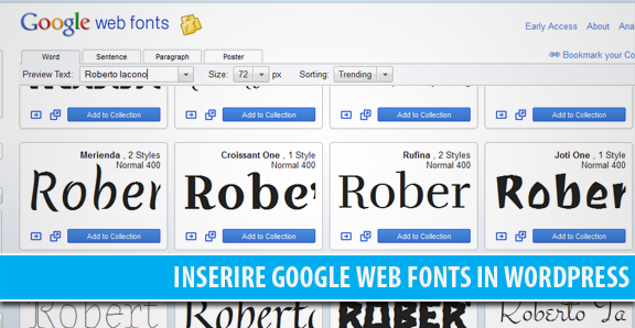 Inserire Google Web Fonts in WordPress