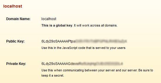 localhost API reCAPTCHA