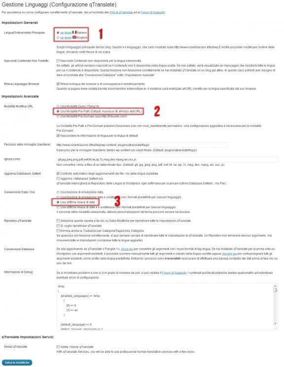Configurazioni di qTranslate