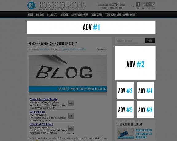 Struttura ADV per ogni pagina e articolo
