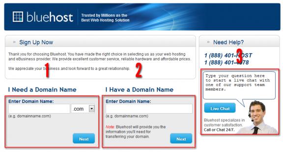 Bluehost scegli il nome del dominio