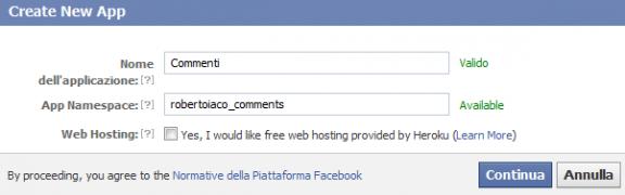 crea nuova applicazione facebook