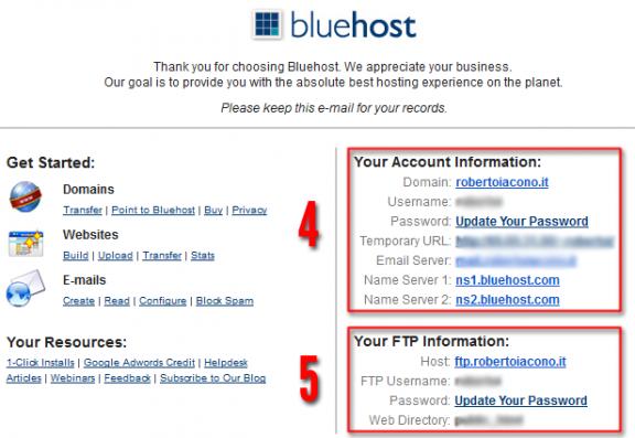 Dati accesso bluehost