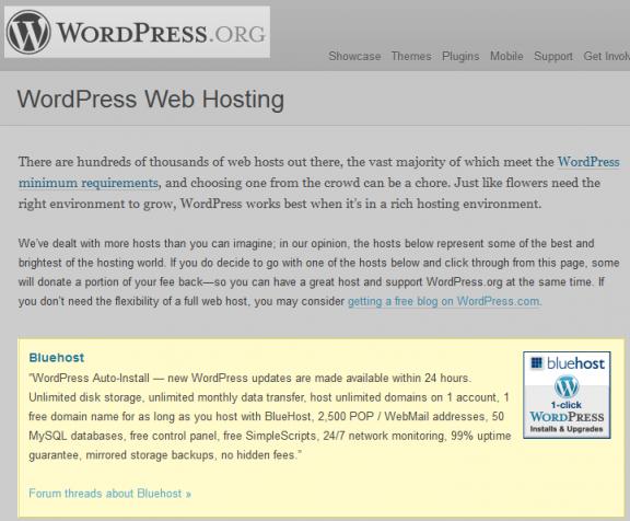 wordpress.org consiglia bluehost