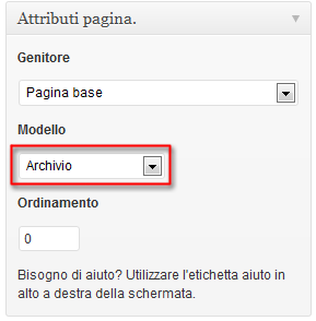 Attributi pagina wordpress