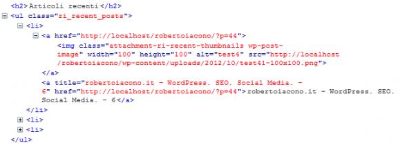 Codice HTML degli articoli recenti