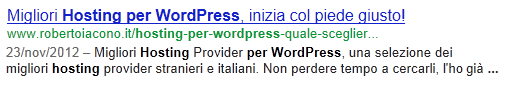 migliori hosting wordpress in SERP