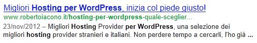 migliori hosting wordpress in SERP
