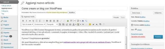 schermata modifica articolo in wordpress
