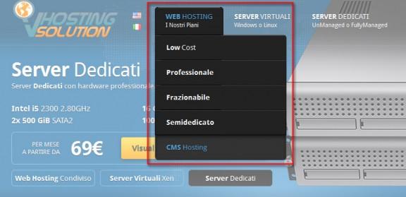 seleziona il tipo di hosting su vhosting