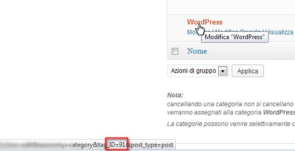 ID categorie wordpress